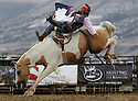 A cowboy fights to stay on a bucking bronco during the National High School Rodeo Finals at the Sweetwater Events Complex in Rock Springs, Wy on Wednesday, July 18, 2012.