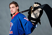 Gasper Kopitar at photo shooting with Slovenian HZS hockey jersey before Anze Kopitar Press Conference before going back to Los Angeles for the start of NHL League, on August 31, 2011, in Dvorana Podmezaklja, Jesenice, Slovenia. (Photo by Matic Klansek Velej / Sportida)