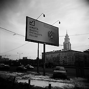 Billboard in the center of Moscow about the presidential election at March,4. Moscow. Russia. 2012