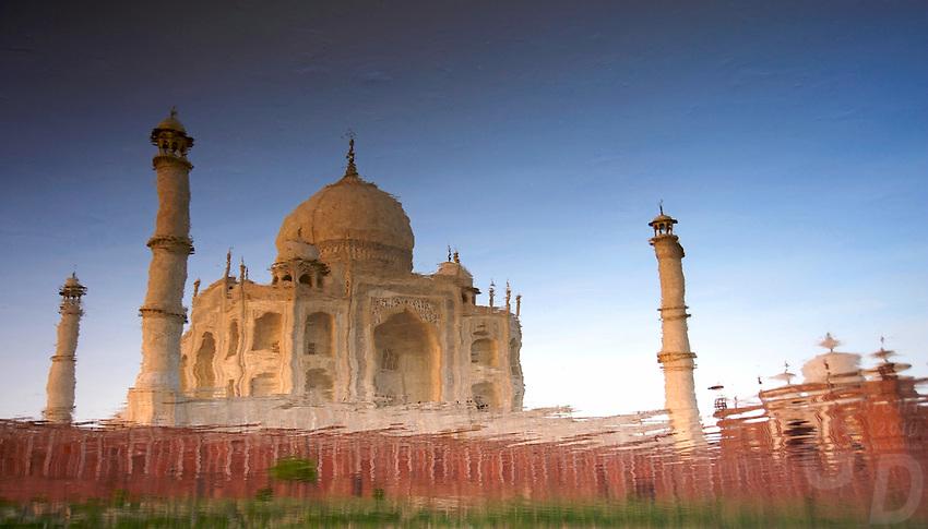 A reflecting Taj Mahal Agra, India