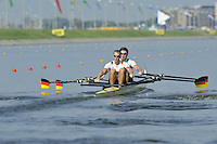 Brest, Belarus.  GER BM2X. at the start.  2010. FISA U23 Championships. Thursday,  22/07/2010.  [Mandatory Credit Peter Spurrier/ Intersport Images]