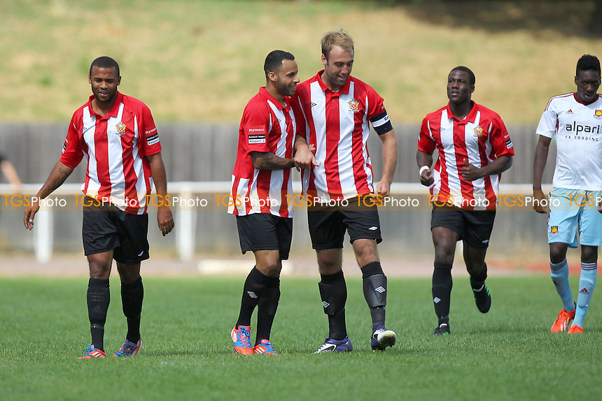 Hornchurch players celebrate their first goal - AFC Hornchurch vs West Ham United XI - Friendly Football Match at The Stadium, Upminster Bridge, Essex - 03/08/13 - MANDATORY CREDIT: Gavin Ellis/TGSPHOTO - Self billing applies where appropriate - 0845 094 6026 - contact@tgsphoto.co.uk - NO UNPAID USE