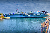 San Diego CA., North Bay, Waterfront, U.S.S. Midway, CV-41, Embarcadero, Downtown, Buildings, Southern California
