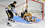 24 January 2009: Boston Bruins goaltender Tim Thomas stops Pittsburgh Penguins center Evgeni Malkin in the first round of the Elimination Shootout of the NHL SuperSkills Competition, during the All-Star Weekend at the Bell Centre in Montreal, Quebec, Canada. ***** Editorial Sales Only ***** Mandatory Photo Credit: Ed Wolfstein Photo