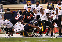 Southern Miss Golden Eagles wide receiver Tracy Lampley (1) runs in front of Virginia Cavaliers defenders during the game at Scott Stadium. Virginia was defeated 30-24. (Photo/Andrew Shurtleff)