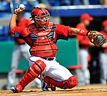 """7 March 2011: Washington Nationals' catcher Ivan """"Pudge"""" Rodriguez in action during a Spring Training game against the Houston Astros at Space Coast Stadium in Viera, Florida. The Nationals defeated the Astros 14-9 in Grapefruit League action. Mandatory Credit: Ed Wolfstein Photo"""