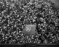United Nations flag waves over crowd waiting to hear Dr. Syngman Rhee speak to the United Nations Council in Taegu, Korea.  July 30, 1950.  Sgt. Girard. (ARmy)<br /> NARA FILE #  111-SC-344511<br /> WAR &amp; CONFLICT BOOK #:  1475