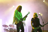 DERBYSHIRE, ENGLAND - AUGUST 13: Brent Hinds and Troy Sanders of 'Mastodon' performing at Bloodstock Open Air Festival, Catton Park on August 13, 2016 in Derbyshire, England.<br /> CAP/MAR<br /> &copy;MAR/Capital Pictures /MediaPunch ***NORTH AND SOUTH AMERICAS ONLY***