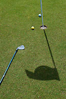 Golf Course, Balls, Club, Flag  casting Shadow, Palm Desert, California, United States, Coachella Valley,