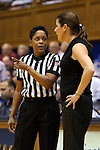 11 February 2016: Referee Rachelle Jones (left) with Duke head coach Joanne P. McCallie (right). The Duke University Blue Devils hosted the Florida State University Seminoles at Cameron Indoor Stadium in Durham, North Carolina in a 2015-16 NCAA Division I Women's Basketball game. Florida State won the game 69-53.