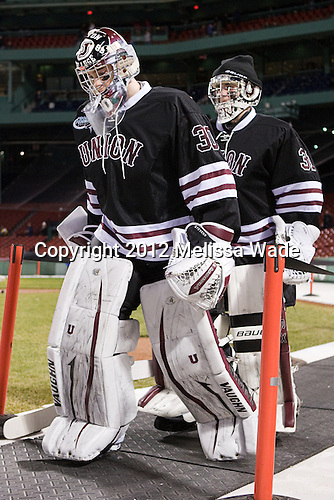 Colin Stevens (Union - 30), Dillon Pieri (Union - 31) - The Union College Dutchmen defeated the Harvard University Crimson 2-0 on Friday, January 13, 2012, at Fenway Park in Boston, Massachusetts.