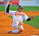 13 March 2009: Baltimore Orioles' second baseman Brian Roberts slides safely into third base during a Spring Training game against the St. Louis Cardinals at Fort Lauderdale Stadium in Fort Lauderdale, Florida. The Cardinals defeated the Orioles 6-5 in the Grapefruit League matchup. Mandatory Photo Credit: Ed Wolfstein Photo