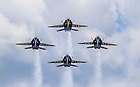The Blue Angels diamond formation makes a head-on pass.<br /> <br /> Photo by Matt Cashore/University of Notre Dame