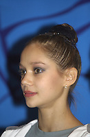 October 19, 2001; Madrid, Spain:  IRINA TCHACHINA of Russia smiles during press interview after team award ceremony at 2001 World Championships at Madrid.