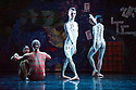 London, UK. 19.05.2014. Rambert presents Lucinda Childs' FOUR ELEMENTS, as part of their London Spring Season 2014, at Sadler's Wells. Picture shows: Adam Blyde (centre), Antonette Dayrit, Stephen Wright and Estela Merlos. Photograph © Jane Hobson.