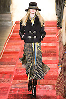 Maud Welzen walks runway in an outfit from the Tommy Hilfiger Fall 2011 Bohemian Prep collection, during Mercedes-Benz Fashion Week Fall 2011.