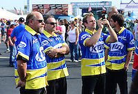 Sept. 30, 2012; Madison, IL, USA: NHRA crew members for pro mod driver Mike Janis during the Midwest Nationals at Gateway Motorsports Park. Mandatory Credit: Mark J. Rebilas-