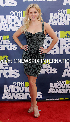 """REESE WITHERSPOON.attends the 2011 MTV Movie Awards at the Gibson Amphitheatre on June 5, 2011 in Universal City, California.Mandatory Photo Credit: ©Crosby/Newspix International. .**ALL FEES PAYABLE TO: """"NEWSPIX INTERNATIONAL""""**..PHOTO CREDIT MANDATORY!!: NEWSPIX INTERNATIONAL(Failure to credit will incur a surcharge of 100% of reproduction fees)..IMMEDIATE CONFIRMATION OF USAGE REQUIRED:.Newspix International, 31 Chinnery Hill, Bishop's Stortford, ENGLAND CM23 3PS.Tel:+441279 324672  ; Fax: +441279656877.Mobile:  0777568 1153.e-mail: info@newspixinternational.co.uk"""