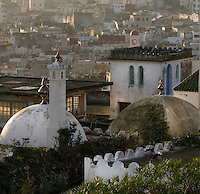 Tangier, Morocco, pictured on December 27, 2009. A rooftop view of the domes, towers and many shaped roofs which form the skyline of Tangier, the 'White City', gateway to North Africa, a port on the Straits of Gibraltar where the Meditaerranean meets the Atlantic, an ancient city where many cultures, Phoenicians, Berbers, Portuguese and Spaniards have all left their mark. With its medina, palace and position overlooking two seas the city is now being developed as a tourist attraction and modern port. Picture by Manuel Cohen