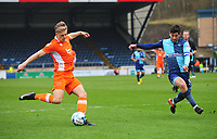 Blackpool's Brad Potts under pressure from Wycombe Wanderers' Joe Jacobson<br /> <br /> Photographer Kevin Barnes/CameraSport<br /> <br /> The EFL Sky Bet League Two - Wycombe Wanderers v Blackpool - Saturday 11th March 2017 - Adams Park - Wycombe<br /> <br /> World Copyright &copy; 2017 CameraSport. All rights reserved. 43 Linden Ave. Countesthorpe. Leicester. England. LE8 5PG - Tel: +44 (0) 116 277 4147 - admin@camerasport.com - www.camerasport.com