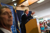 Real estate mogul and Republican presidential candidate Donald Trump speaks to supporters at a rally at the Weirs Beach Community Center in Laconia, New Hampshire.