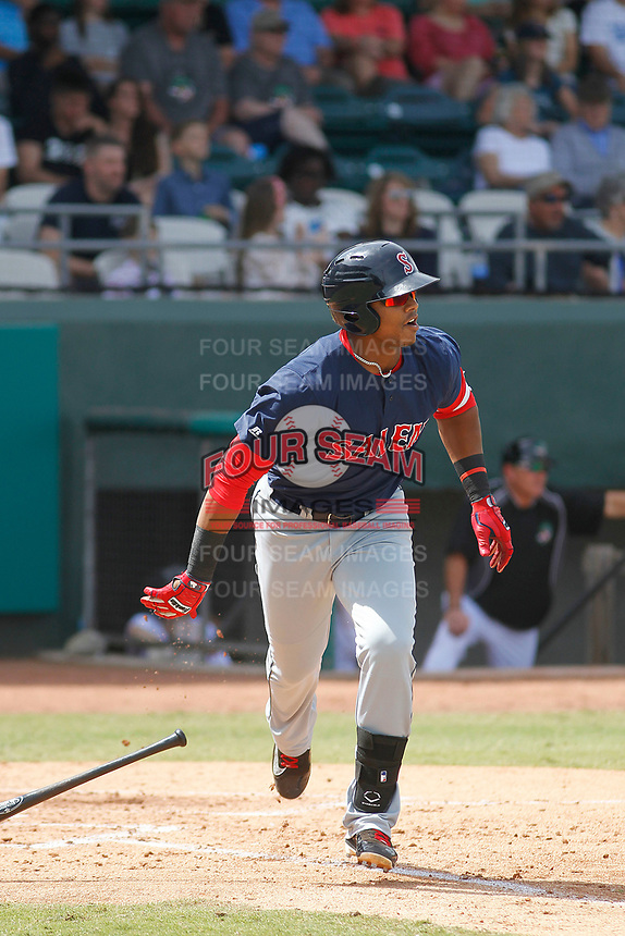Salem Red Sox designated hitter Jose Sermo (16) at bat during a game against the Down East Wood Ducks  at Grainger Stadium on April 16, 2017 in Kinston, North Carolina. Salem defeated Down East 9-2. (Robert Gurganus/Four Seam Images)
