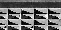 Section of patterned concrete wall. Westhaven, Auckland, New Zealand.