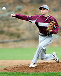 WATERBURY CT. 19 April 2017-041817SV11-#11 Corey Plasky of Naugatuck High pitches against Holy Cross High in the 2nd inning during NVL baseball action in Waterbury Wednesday.<br /> Steven Valenti Republican-American