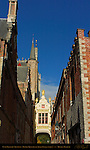 Blinde-Ezelstraat Blind Donkey Street, Rear of Town Hall Stadhuis, Burg Square, Bruges, Brugge, Belgium