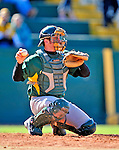 19 April 2009: University of Vermont Catamounts' catcher Mike McCarthy, a Freshman from Wallingford, CT, in action against the University at Albany Great Danes at Historic Centennial Field in Burlington, Vermont. The Great Danes defeated the Catamounts 9-4 in the second game of a double-header. Sadly, the Catamounts are playing their last season of baseball, as the program has been marked for elimination due to budgetary constraints on the University. Mandatory Photo Credit: Ed Wolfstein Photo