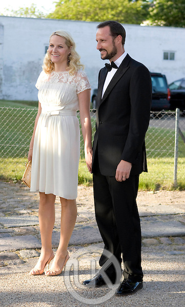 Crown Prince Haakon, and Crown Princess Mette Marit of Norway arrive for a Dinner Party at Fredensborg Palace, in Denmark, to celebrate Crown Prince Frederiks 40th Birthday. Crown Prince Frederik turned 40 on May 26th