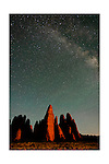Milky Way and starlight over rock fins, Arches National Park Utah