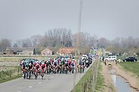 Team Trek-Segafredo trying to form echelons in the infamous (windy) Moeren<br /> <br /> 79th Gent-Wevelgem 2017 (1.UWT)<br /> 1day race: Deinze &rsaquo; Wevelgem - BEL (249km)
