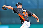13 March 2012: Miami Marlins pitcher Ryan Webb on the mound during a Spring Training game against the Atlanta Braves at Roger Dean Stadium in Jupiter, Florida. The two teams battled to a 2-2 tie playing 10 innings of Grapefruit League action. Mandatory Credit: Ed Wolfstein Photo