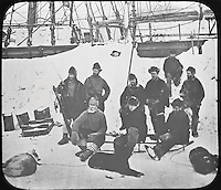 BNPS.co.uk (01202 558833)<br /> Pic: PenzanceAuctions/BNPS<br /> <br /> The crew in the Arctic with their ships locked into the ice. <br /> <br /> Incredibly rare glass slides depicting the British expedition to the North Pole in 1875 have been found 140 years later.<br /> <br /> The remarkable images from the early days of photography depict the brave men and their Inuit guides who endured sub-zero temperatures to try to become the first to reach the pole in 1875.<br /> <br /> Photographers Thomas Mitchell and George White went on the failed expedition and now 42 of their glass slides have been found in a box during a house clearance in Cornwall.