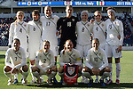 27 November 2010: U.S. starters pose for a team photo. Front row (l to r): Shannon Boxx (USA), Heather Mitts (USA), Christie Rampone (USA), Carli Lloyd (USA). Back row (l to r): Rachel Buehler (USA), Amy LePeilbet (USA), Abby Wambach (USA), Nicole Barnhart (USA), Amy Rodriguez (USA), Heather O'Reilly (USA), Megan Rapinoe (USA). The United States Women's National Team defeated the Italy Women's National Team 1-0 in the second leg of their 2011 FIFA Women's World Cup Qualifier playoff at Toyota Park in Bridgeview, Illinois. The U.S. won the series 2-0 on aggregate goals to advance.