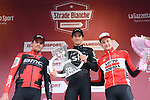 Michal Kwiatkowski (POL) Team Sky wins with Greg Van Avermaet (BEL) BMC Racing in 2nd place and Tim Wellens (BEL) Lotto-Soudal 3rd on the podium at the end of the 2017 Strade Bianche running 175km from Siena to Siena, Tuscany, Italy 4th March 2017.<br /> Picture: La Presse/Gian Mattia D'Alberto | Newsfile<br /> <br /> <br /> All photos usage must carry mandatory copyright credit (&copy; Newsfile | La Presse)