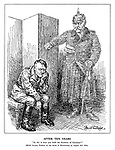 """After Ten Years. """"So this is how you hold the frontiers of Germany!"""" [Hitler became Fuehrer on the death of Hindenburg on August 2nd 1934] (an angry ghost of Hindenburg with Tannenberg in his pocket clenches his fist at a shamed Hitler)"""