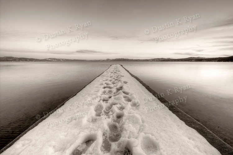 Lake Tahoe Vanishing Point Snowy dock in black and white