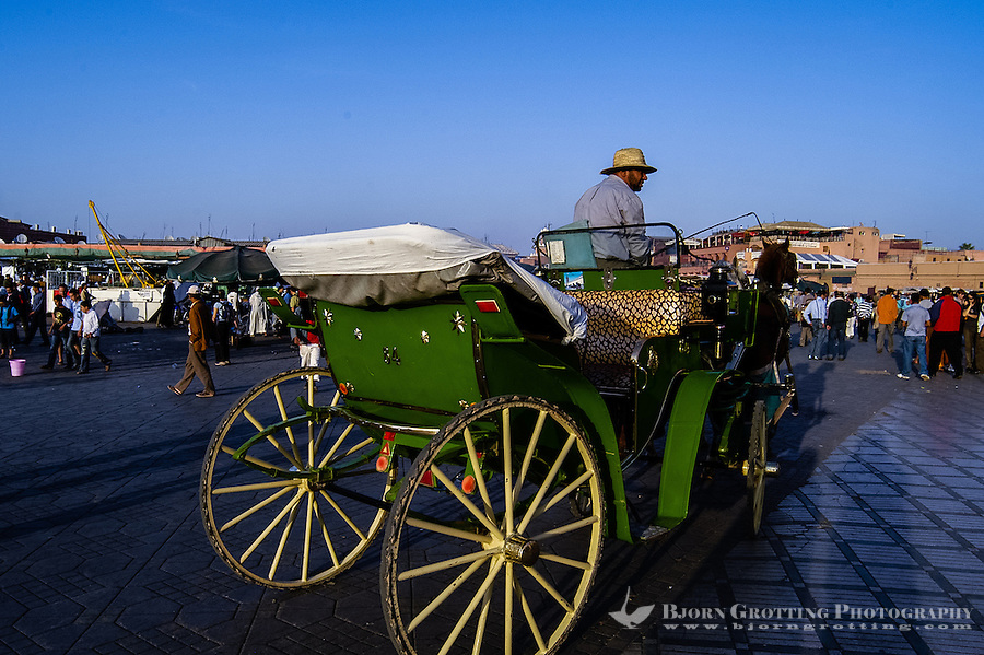 Morocco, Marrakesh. Jamaa el Fna is a square and market place in Marrakesh's medina quarter (old city). A horse cab waiting for passengers.