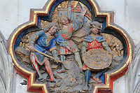 The scattering of St John's ashes, plaque on the North side of the Gothic choir screen, 1490-1530, commissioned by canon Adrien de Henencourt and made by the sculptor Antoine Ancquier, depicting the life of St John the Baptist, at the Basilique Cathedrale Notre-Dame d'Amiens or Cathedral Basilica of Our Lady of Amiens, built 1220-70 in Gothic style, Amiens, Picardy, France. Amiens Cathedral was listed as a UNESCO World Heritage Site in 1981. Picture by Manuel Cohen