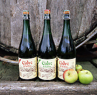 France, Brittany: Bottles of Cider and apples | Frankreich, Bretagne: Cidre und Aepfel