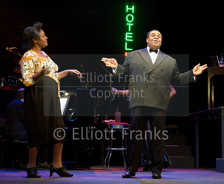 Blues in the Night <br /> directed by Susie McKenna<br /> at Hackney Empire, London, Great Britain<br /> Chicago 1939 One man, three women, their lives, memories and the music that gets them through the night.  <br /> press photocall<br /> 24th April 2014 <br /> <br /> Sharon D Clarke <br /> Gemma Sutton <br /> Clive Rowe<br /> Paulette Ivory <br /> <br /> with dancers KM Drew Boateng <br /> Ryan Reid <br /> <br /> conceived by Sheldon Epps<br /> directed by Susie McKenna<br /> musical director Mark Dickman <br /> designer Lotte Collett <br /> Choreographer Frank Thompson <br /> Lighting David W Kidd