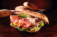 Ham and salad chiabatta sandwich. Food photos.