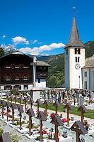 Stalden Church, St Michaelspfarrei, and graveyard in the Chablais region of Switzerland