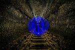 Blue orb inside Old Helensburgh Station disused railway tunnel, NSW, Australia