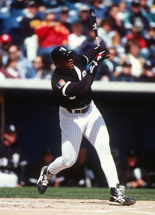 CHICAGO - 1994:  Frank Thomas of the Chicago White Sox bats during an MLB game at Comiskey Park in Chicago, Illinois.  Thomas played for the White Sox from 1990-2005.  (Photo by Ron Vesely)