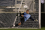 13 November 2009: Virginia's Diego Restrepo (1) is beaten during the penalty kick shootout by Wake Forest's Austin da Luz (not pictured). The University of Virginia Cavaliers defeated the Wake Forest University Demon Deacons 4-3 on penalty kicks after the game ended in a 0-0 tie after overtime at WakeMed Stadium in Cary, North Carolina in an Atlantic Coast Conference Men's Soccer Tournament Semifinal game.