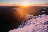 Winter sunrise from Pen Y Fan, Brecon Beacons national park, Wales
