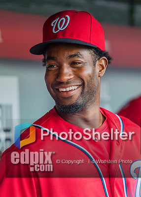 6 August 2016: Washington Nationals outfielder Brian Goodwin smiles in the dugout on his first day being called up to the majors prior to a game against the San Francisco Giants at Nationals Park in Washington, DC. The Giants defeated the Nationals 7-1 to even their series at one game apiece. Mandatory Credit: Ed Wolfstein Photo *** RAW (NEF) Image File Available ***
